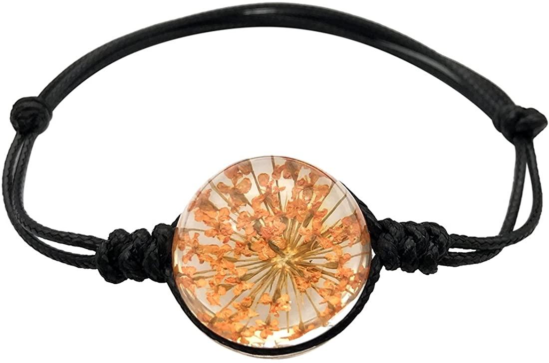 JJTZX Real Flower Bracelet Dried Flower Bracelet Herbarium Bracelet Botanical Bracelet Handmade Leather Bracelet Gift for Girl