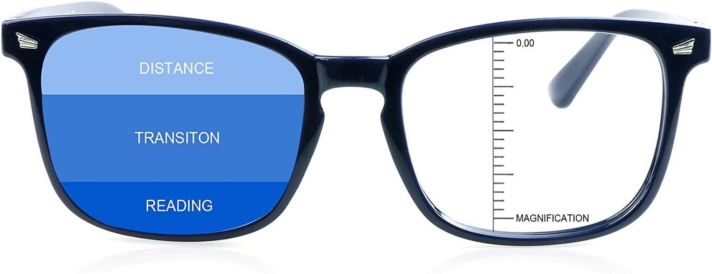 LAMBBAA Vintage Square Progressive Multifocal Presbyopic Glasses, Anti-Blue Light Glasses for Men Women Readers (+0.00/+1.50 Magnification)