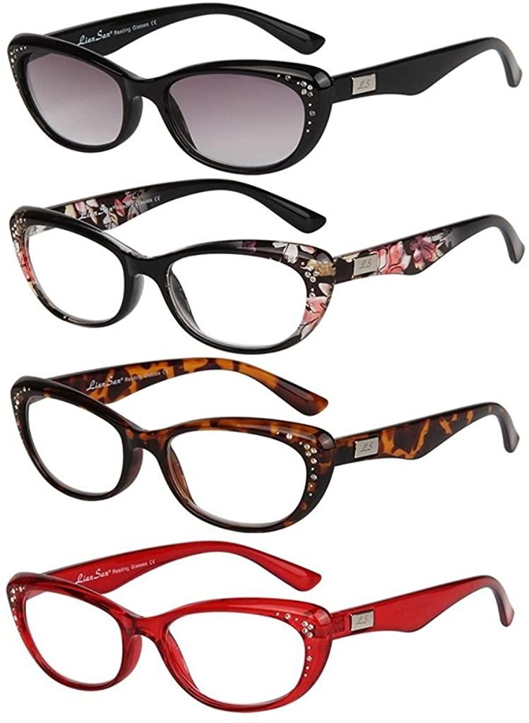 LianSan Cat Eye Reading Glasses for Women Fashion Bling Rhinestone Ladies Eyeglasses with Sunglasses Readers 4 Pack
