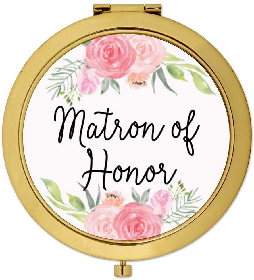 Andaz Press Compact Mirror Matron of Honor Wedding Gift, Gold, Peach and Pink Roses, 1-Pack, Bachelorette Bridal Shower Wedding Party Gifts