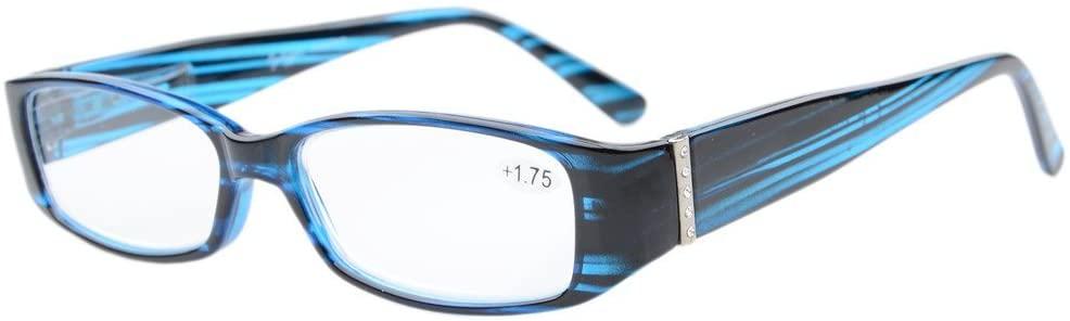 Eyekepper Spring Hinges Reading Glasses Readers with Genuine Austrian Crystals Women Blue +2.25