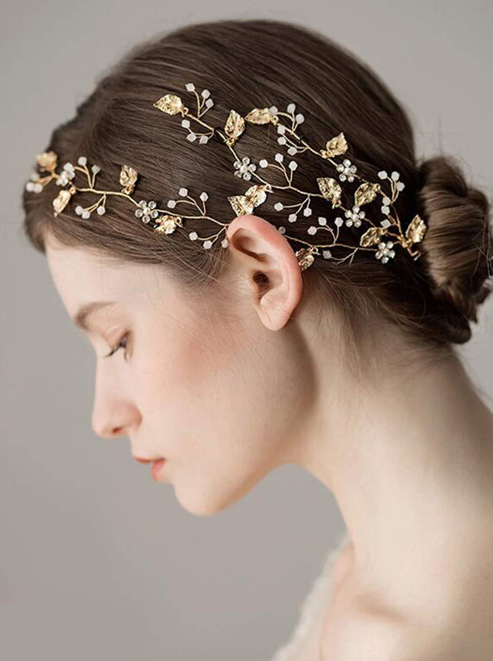 FXmimior Women Bridal Crystal Headpiece Rhinestone Headband Hair Vine Wedding Hair Accessories Leaf and Flower Bridal Hair Accessory