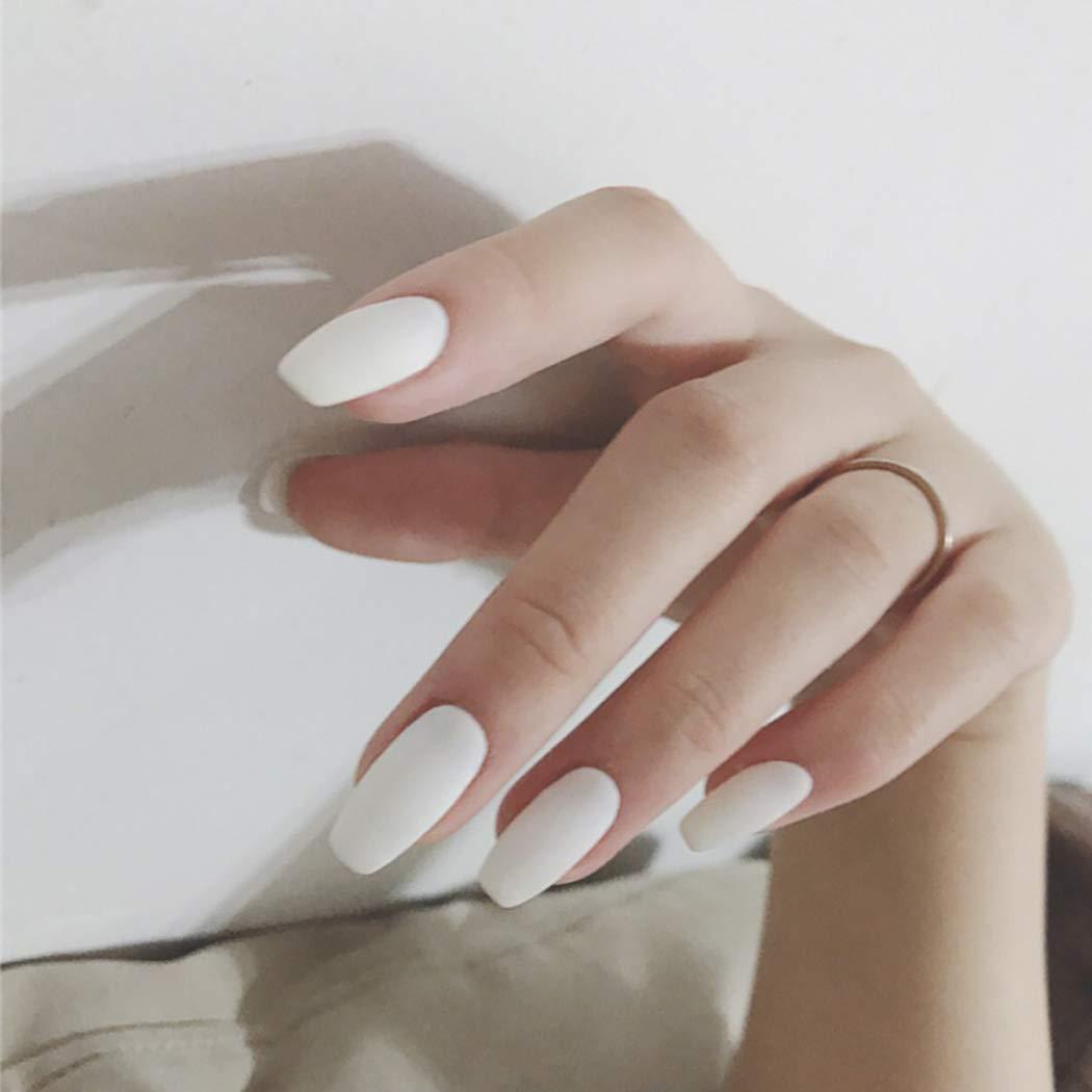 Vinzar Coffin False Nail Full Cover Medium Ballerina Nails White Fake Nail Matte Acrylic Nail Tips Clip on Nail for Women and Girls?24Pcs?