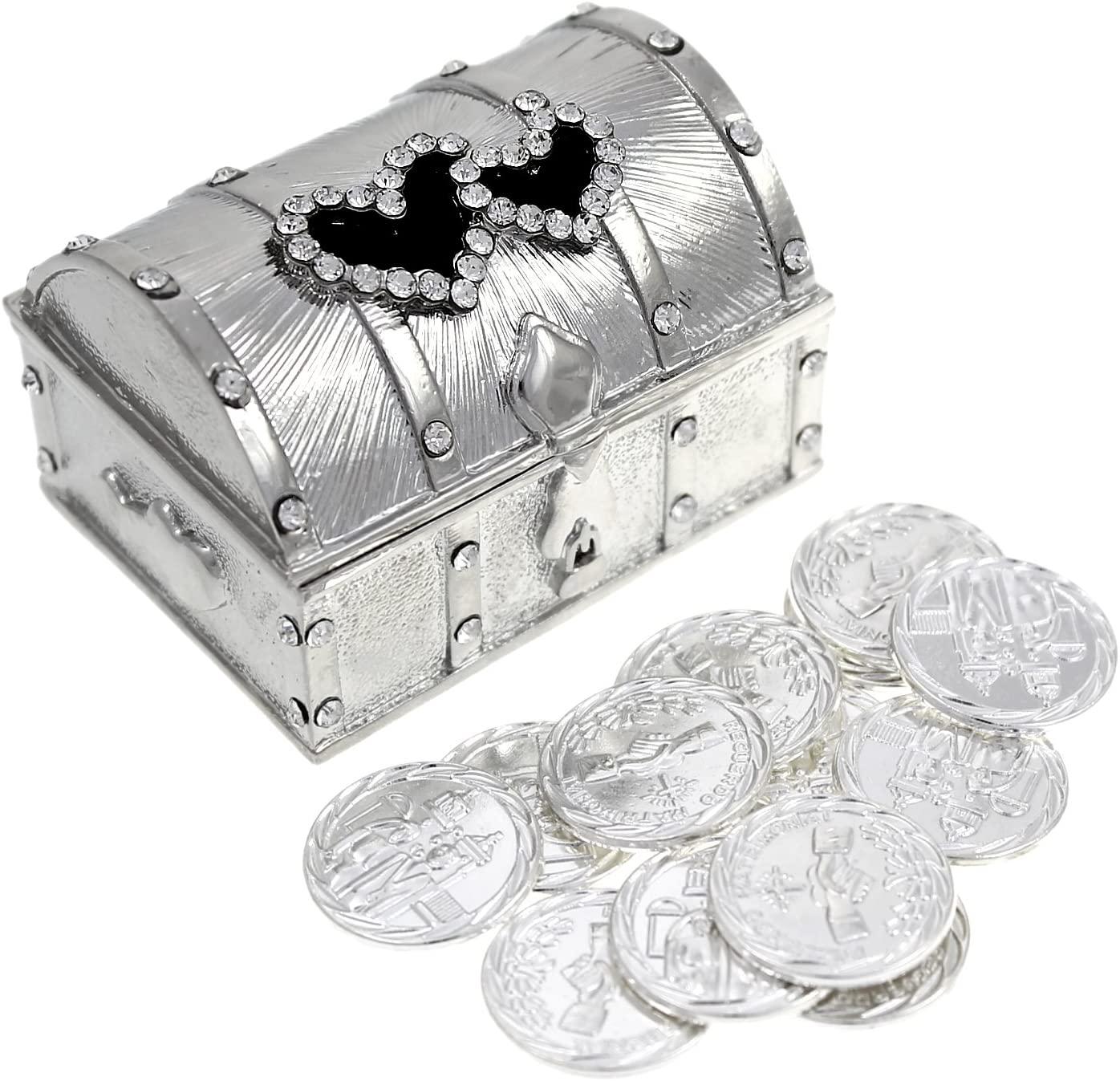 Wedding Unity Coin Set - Arras de Boda - Double Heart Box with Decorative Rhinestone Crystals 68 (Silver)