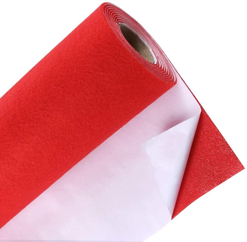 Caydo Red Self Adhesive Felt ShelfLiner for Jewelry Drawer, Display, Drawer Craft Fabric Peel Stick 15.7