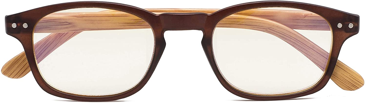 Bamboo-look Arms Blue Light Filter UV Protection Computer Reading Glasses Women
