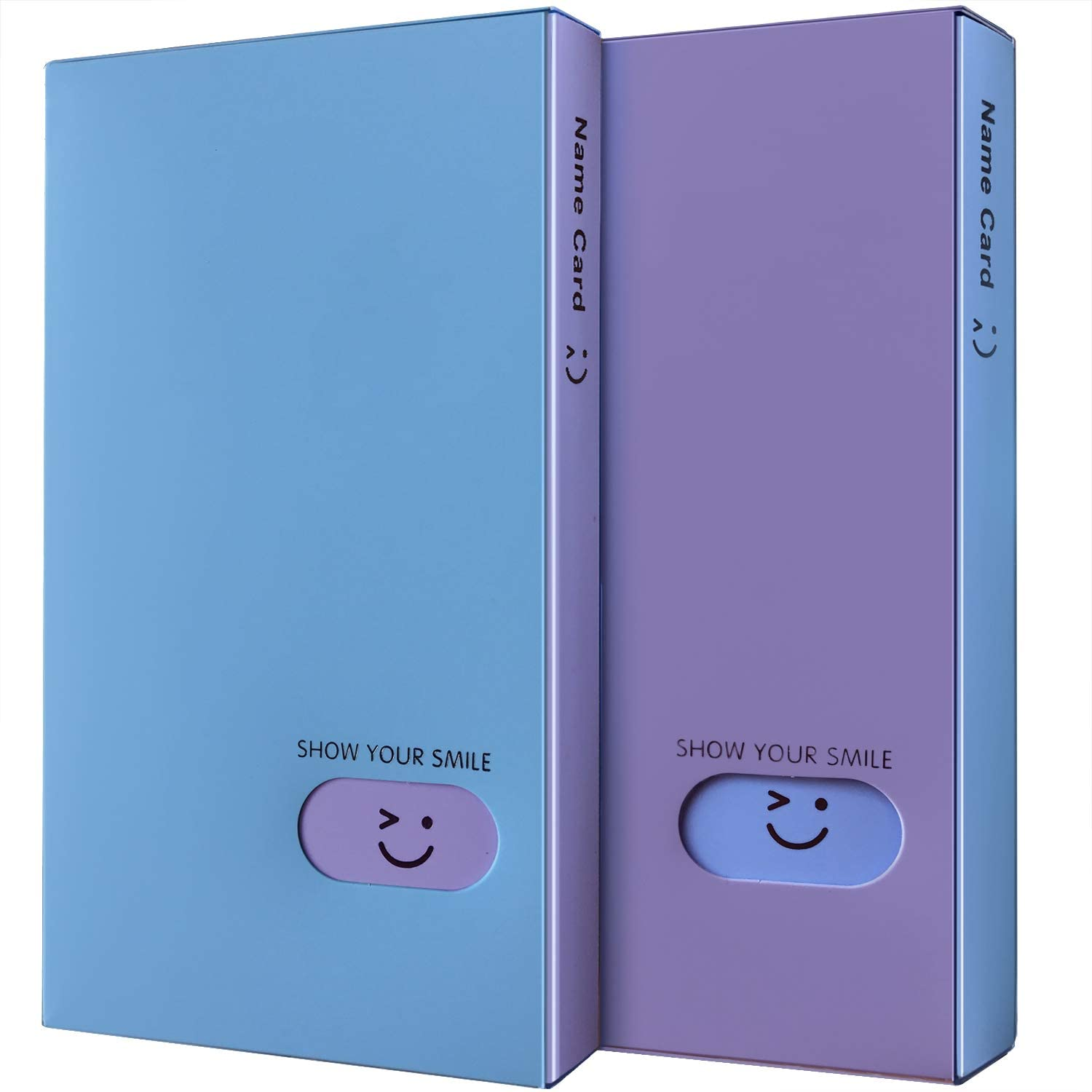 Initial heart Business Card Book Holders 2 Pack Color Name Card Book Rack Book Case Organizer ID Cards Personal Cards Credit Cards Photo Album LOMO Cards Storage 120 Pockets (Blue-Purple)