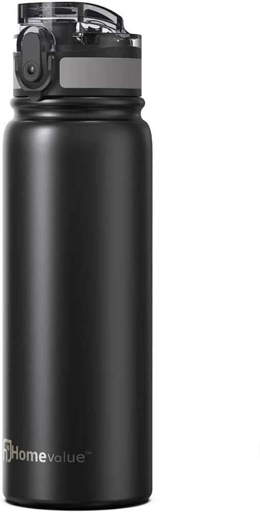 Homevalue Stainless Steel Water Bottle,Leakproof BPA-Free Water Bottle for Sports, Gym, Kids, Yoga, Outdoor, 17oz (Black)