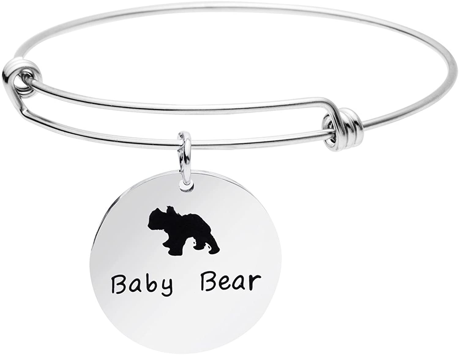 Mother's Day Jewelry Gift Mom Mama Bear Bracelet Necklace Adjustable Bangle Gifts