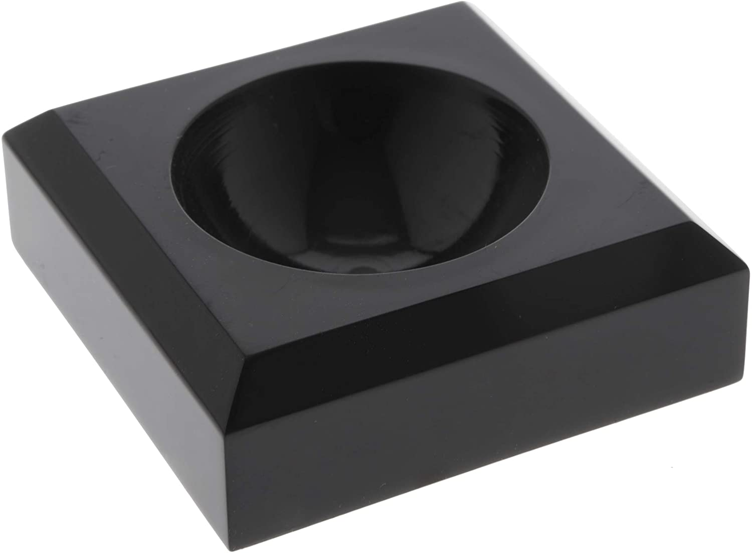 Plymor Black Acrylic Square Display Base with Indented Circle to Hold Egg, Marble, Ball or Sphere, 0.75