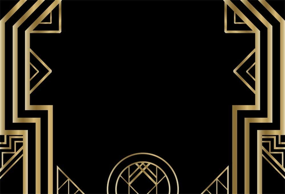Laeacco Art Deco Vintage Background 10x6.5ft Photography Background Golden Abstract Geometric 3D Ornament Modern Style Backdrops Wedding Parties Black Background