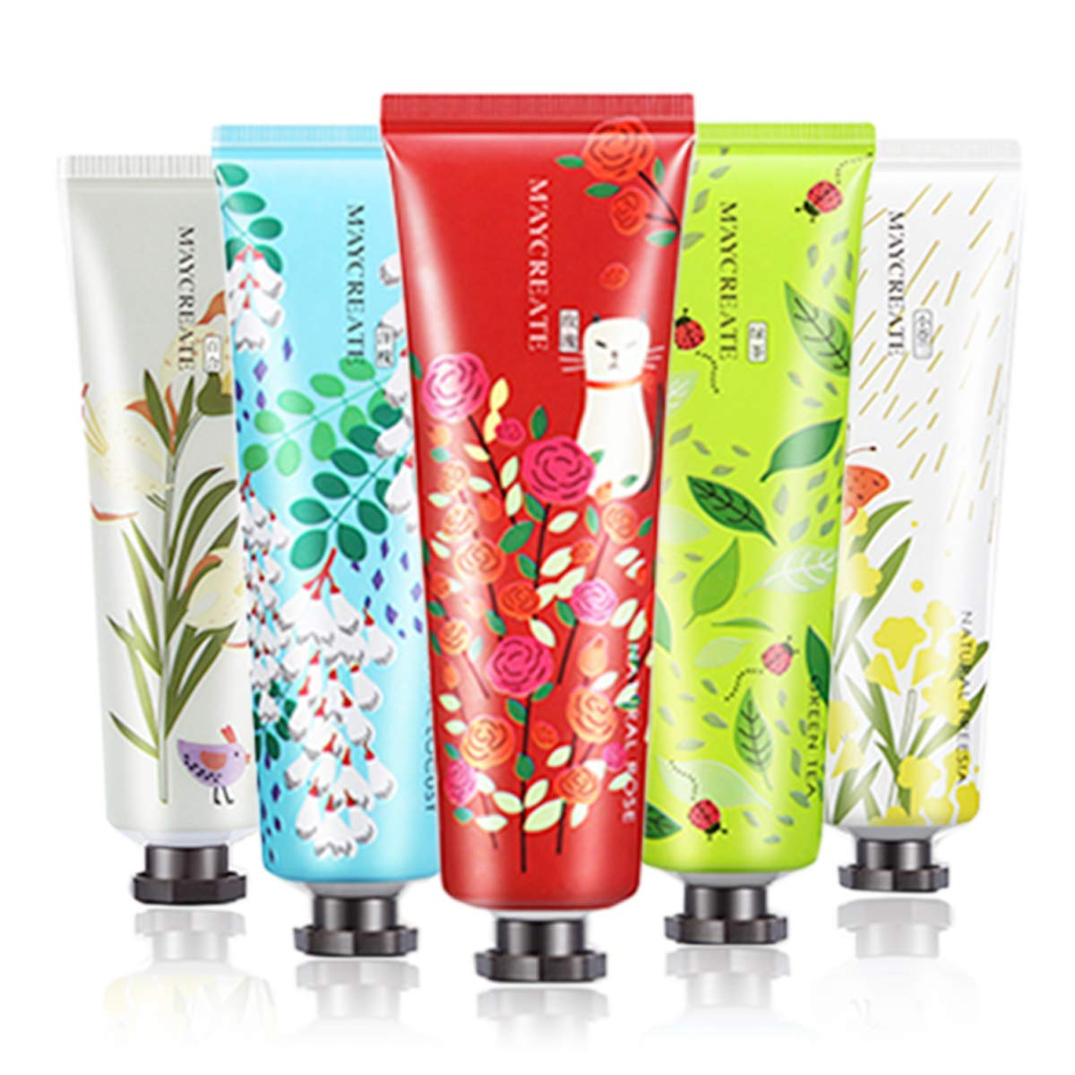 Tophany 5 Pack Plant Flower Extract Fragrance Hand Cream With Natural Aloe And Vitamin E, Family Travel Moisturizing Hand Feet Care Cream Hand Cream Gift Set for Women and Men
