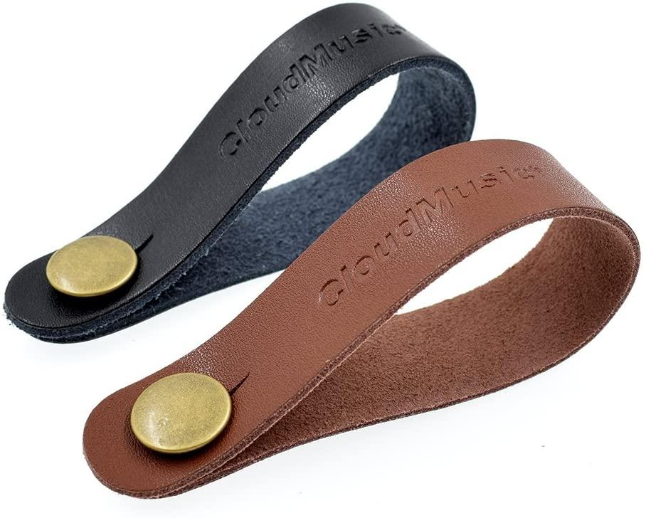 CLOUDMUSIC Ukulele Strap Guitar Strap Button Headstock Adapter 2pcs For Soprano Concert Tenor Baritone Ukulele Acoustic Guitar (black & brown)
