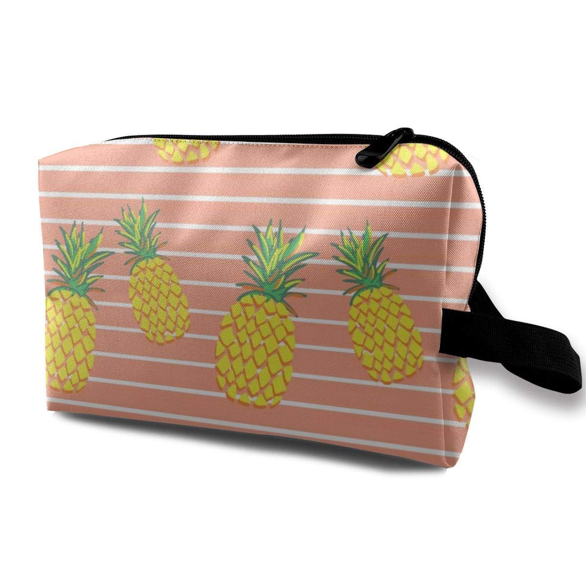Pineapples Orange Stripes Makeup Bag Pouch Purse Cosmetic Organizer for Women,Portable Waterproof and High Capacity,for Lipstick Eyeshadow Hairbrushes