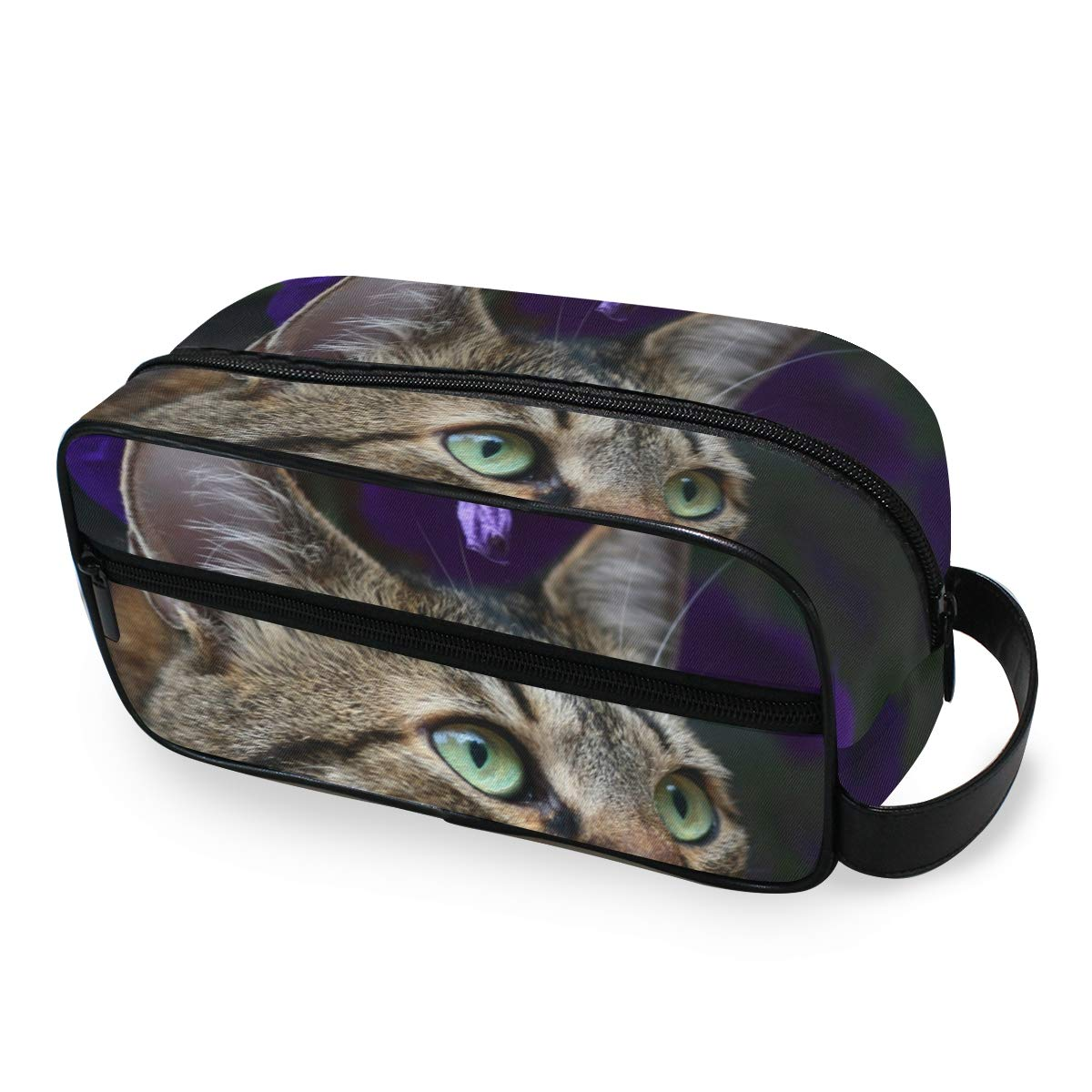 Makeup Bag Portable Travel Cosmetic Toiletry Bag Cute Cat In Purple Flowers Organizer Accessories Case Tools Case for Beauty Women