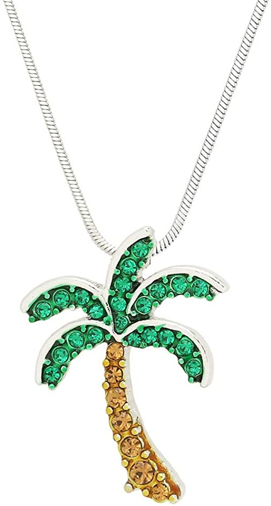 Liavys Palm Tree Charm Pendant Fashionable Necklace - Sparkling Crystal - 17 Snake Style Chain - Unique Gift and Souvenir - 2 Colors