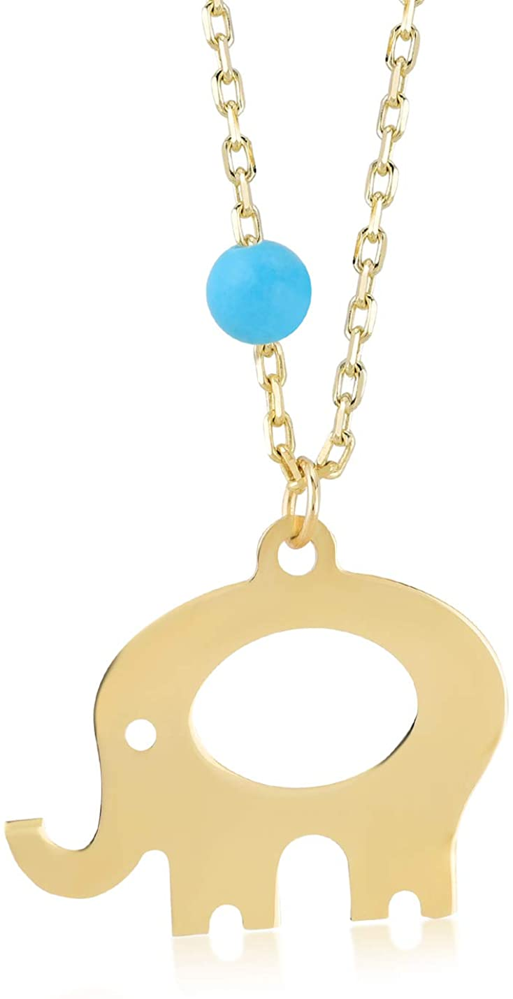 GELIN Elephant Turquoise Pendant Necklace in 14k Yellow Gold, Good Luck Jewelry for Women