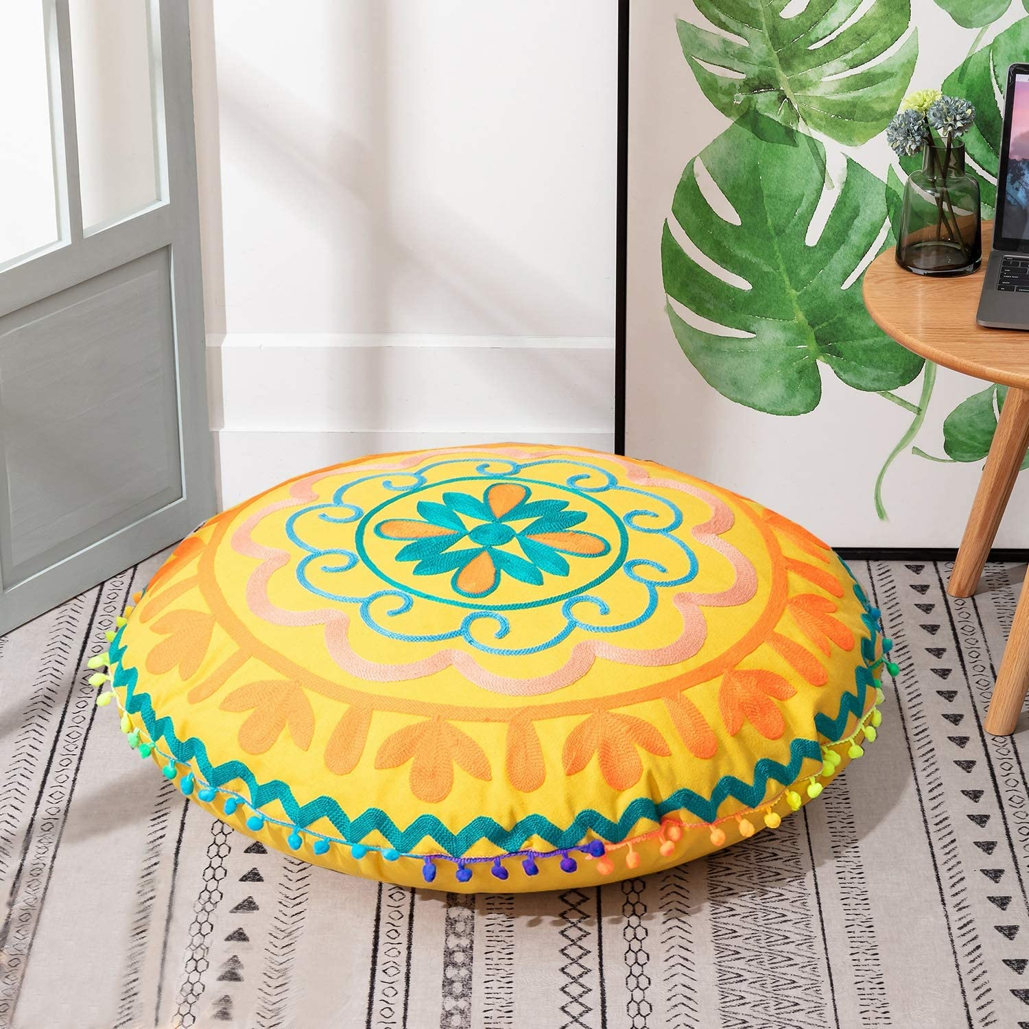HIGOGOGO Round Embroidered Floor Pillow, Bohemian Indian Mandala Floor Cushion with Pom-Pom Tassel, Zipped Bohemian Meditation Seating Stuffed Pouf Removable Cover for Living Room, Yellow, 22 Inch
