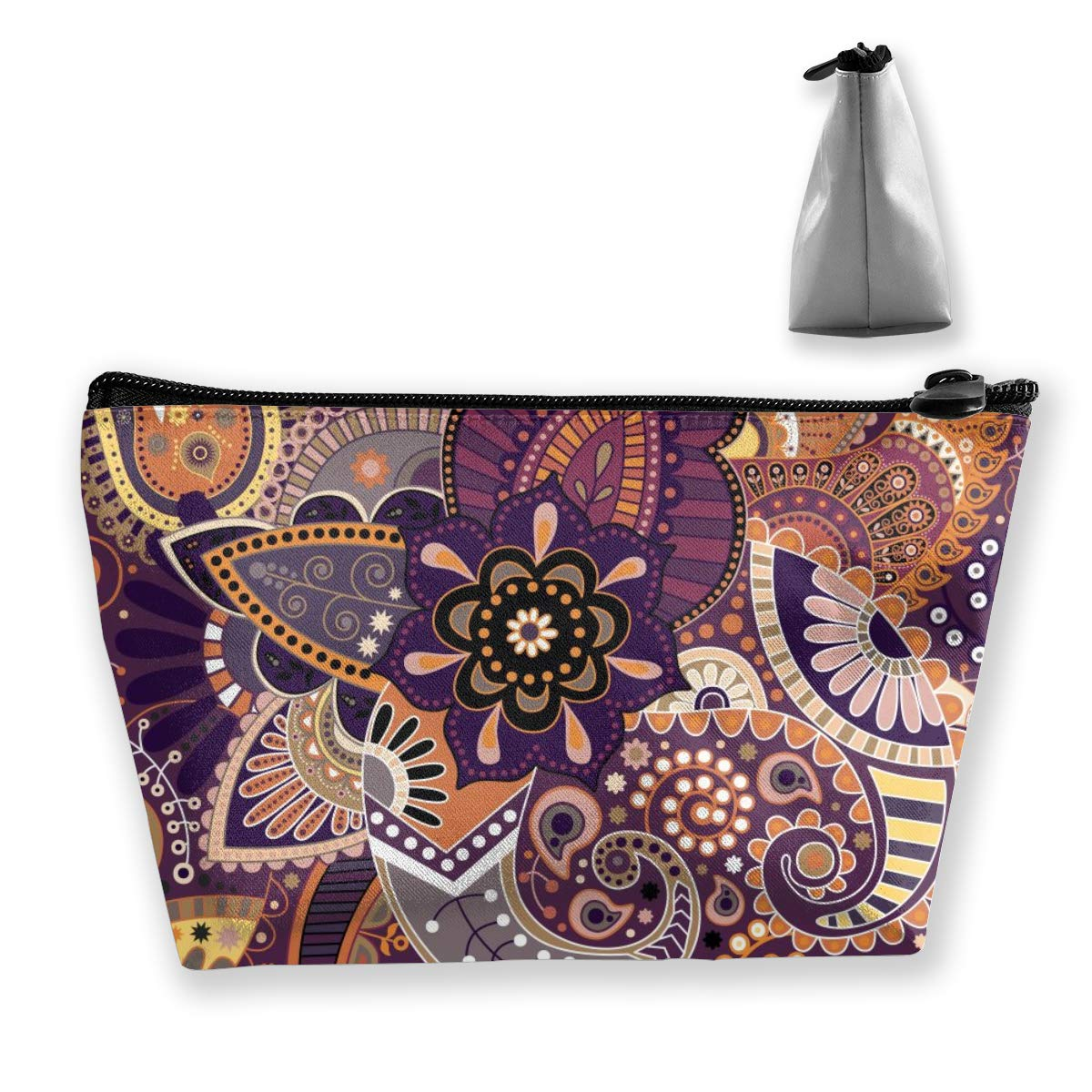 Premium Trapezoidal Storage Organizer Bag Portable Toiletry Bag Make Up Cosmetic Pouch Travel Toiletry Clutch Bag With Zipper (Paisley Floral Indian Mandala)