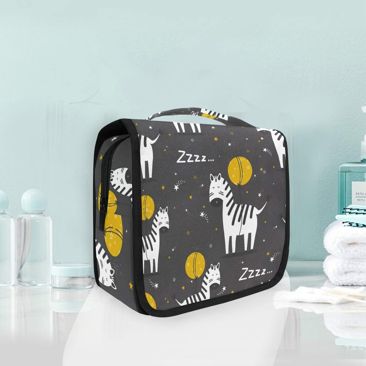 Toiletry Bag Hanging Travel Cosmetic Bag Large Capacity Portable Makeup Bag Zebra Organizer Pouch for Women Girls