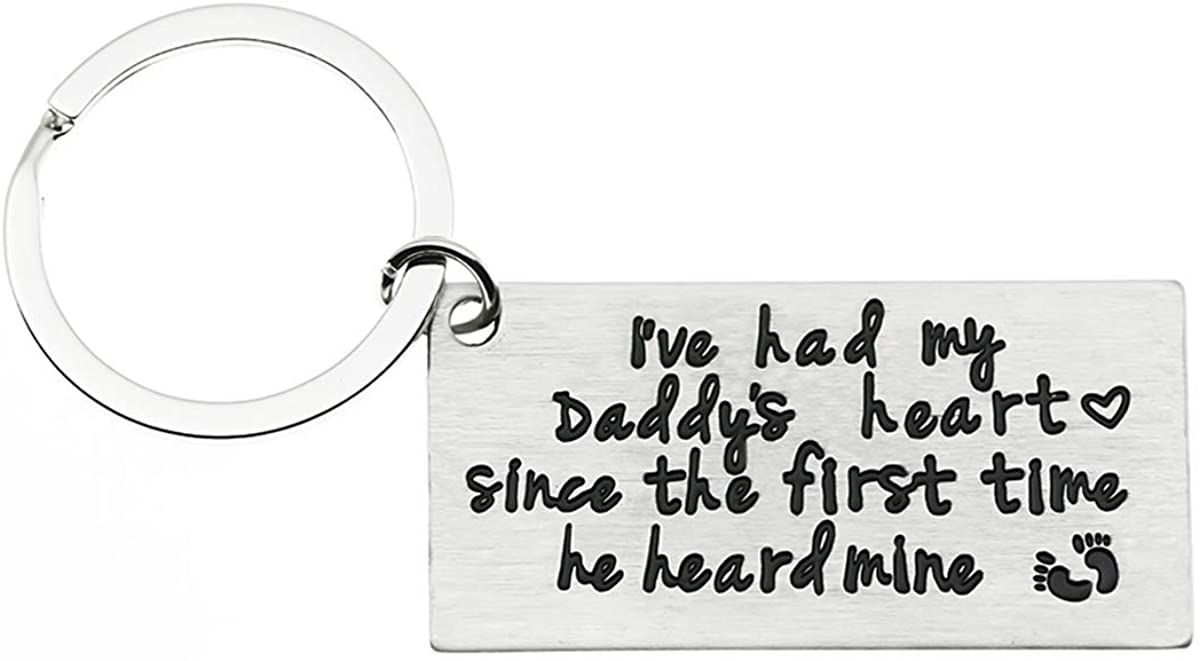Gift for Dad, I've Had My Daddy's Heart Since The First Time He Heard Mine Stainless Steel Daddy Keychain, Fathers Day Gifts.