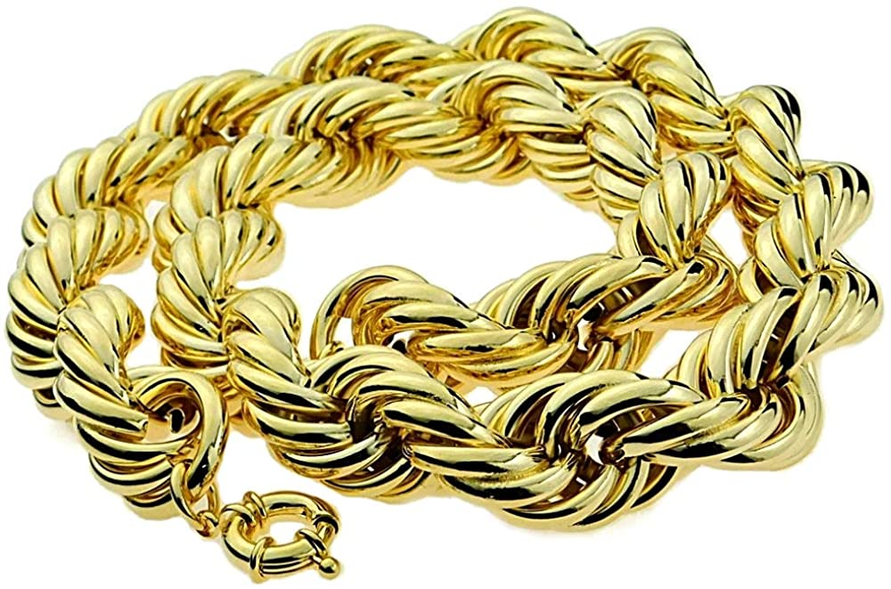 Bling Cartel Huge Mens 14k Gold Plated Chain Hollow Rope Dookie 25MM Wide x 30