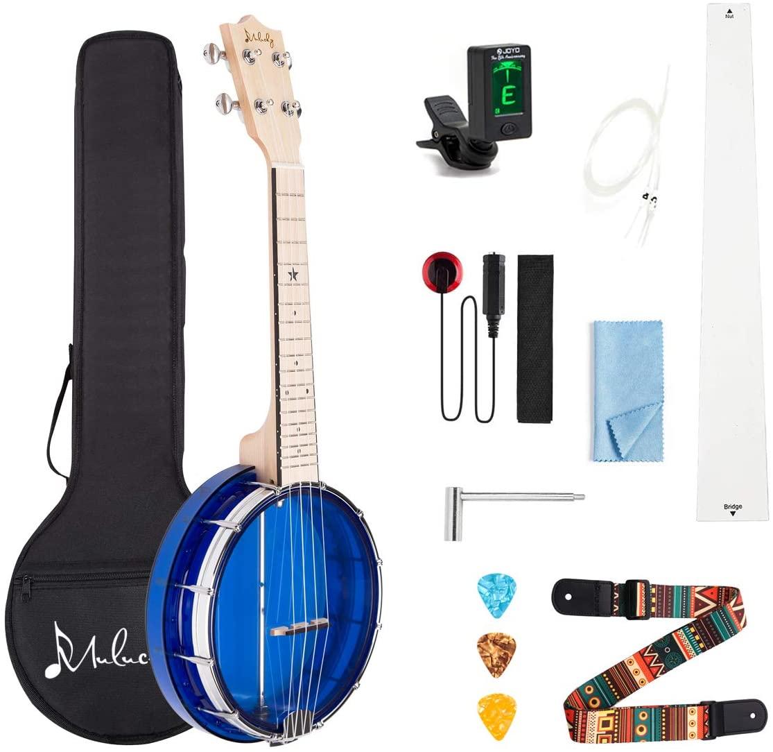 Mulucky 4-String Banjo Ukulele, Mini Banjo Ukes Blue With Gig Bag Tuner String Strap Picks - BU80B