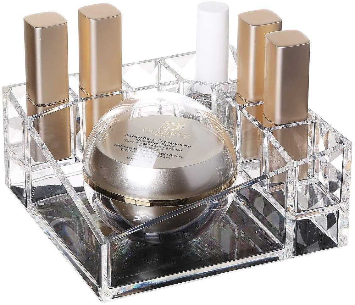 lureme Clear Acrylic Makeup Organizer Lipstick Organizer Nail Polish Organizer Cosmetic Beauty Display Case (cb000025)