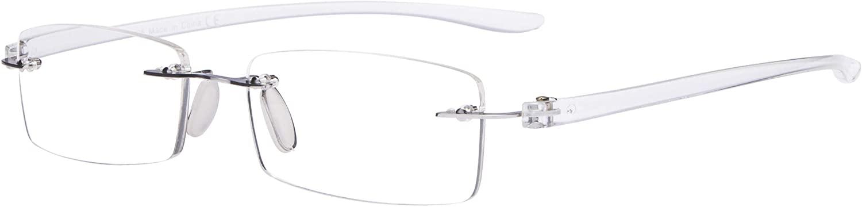 Eyekepper Small Lenes Rimless Reading Glasses Women - Frameless Reader Eyeglasses for Men Reading with Transparent Arms +0.50