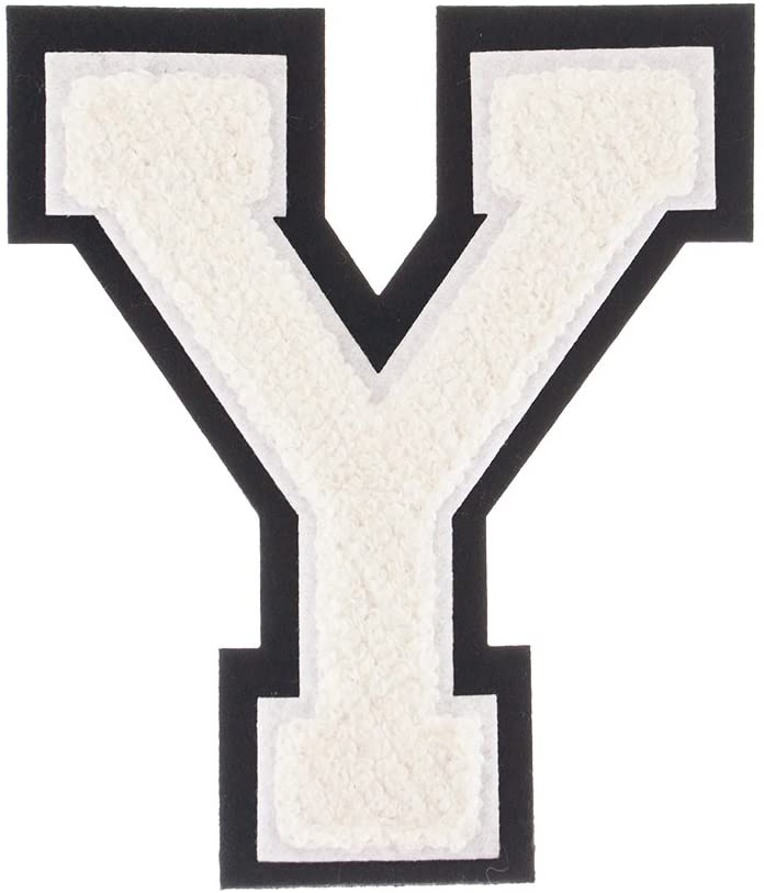 Y - White on Black - 4 1/2 Inch Heat Seal/Sew On Chenille Varsity Letter