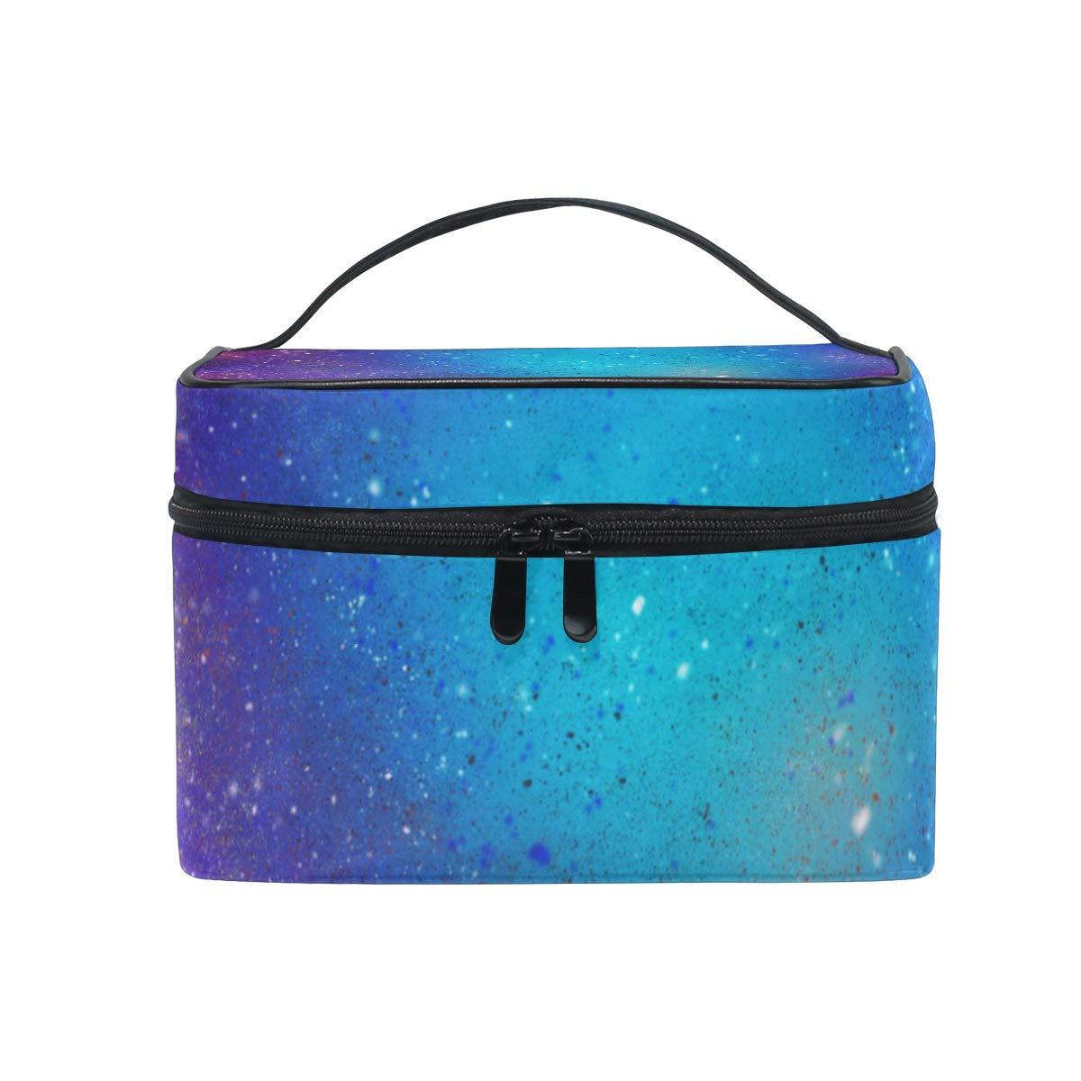 Large Travel Makeup Train Case Galaxy Magic Carrying Portable Zip Cosmetic Brush Bag Makeup Bag Organizer for Girls Women