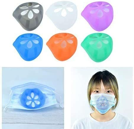 3D Silicone mask Holder,3D Face Inner Bracket for Lipstick Comfortable Breathing,Prevent Makeup Removal,Can be Washed and reused Keep Fabric Off Mouth to Create More Breathing Space (6silicone)