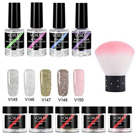 Dipping Powder Set Women Girl Home Salon Dip System Liquid Natural Dry Nail Art Starter Kit 10Pcs (E)