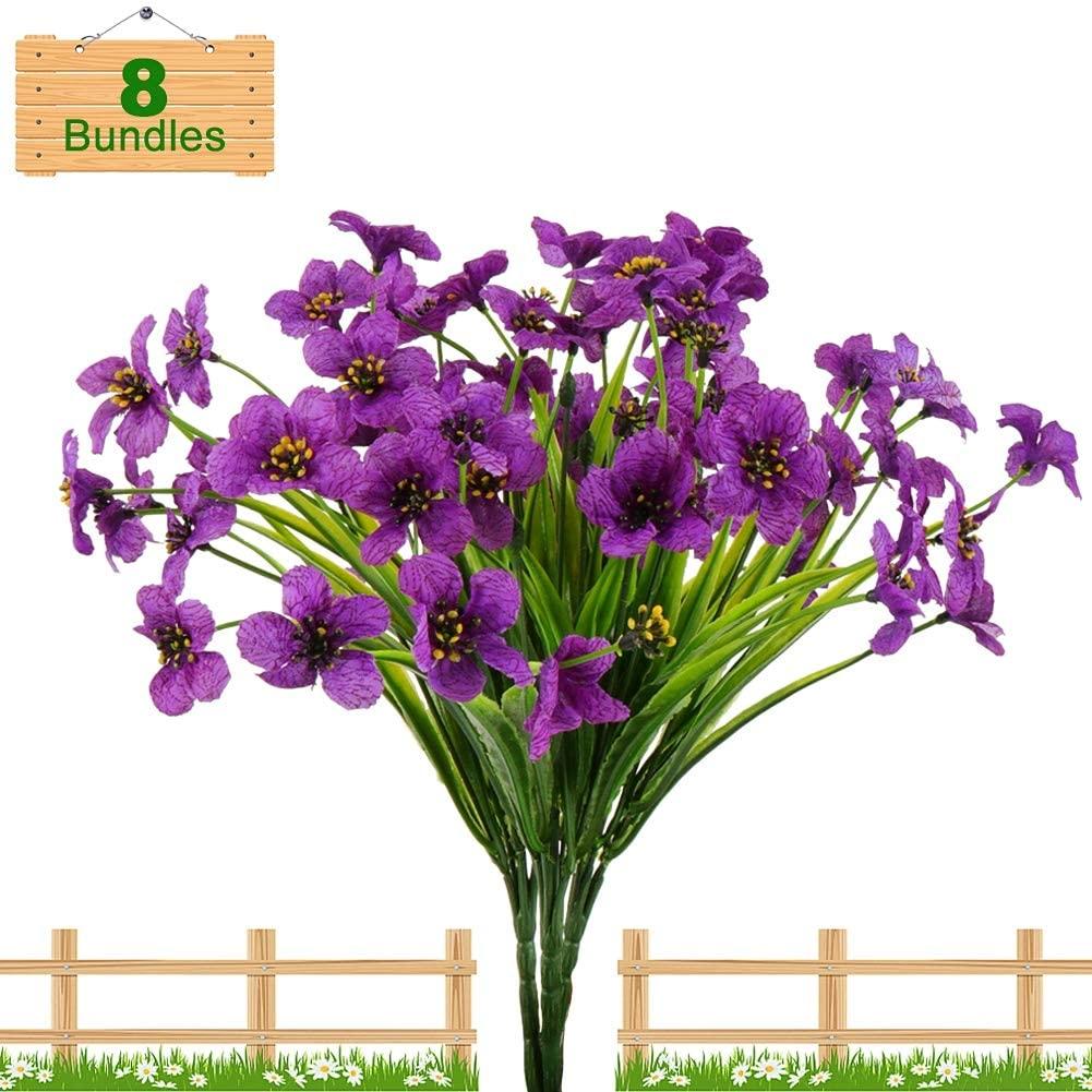 U/N Artificial Flowers Outdoor UV Resistant Fake Flowers Bouquets 8 Bundles Faux Plastic Greenery Shrubs Plants for Indoor Outside Hanging Plants Garden Porch Window Box Decoration (Purple)