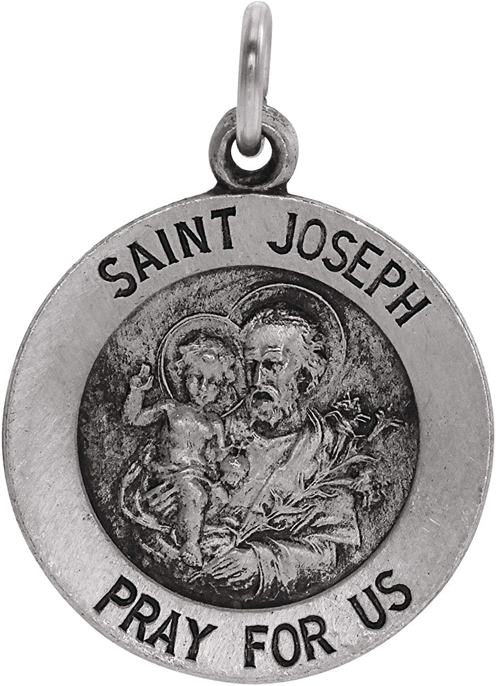 Bonyak Jewelry Sterling Silver 15mm St. Joseph Medal
