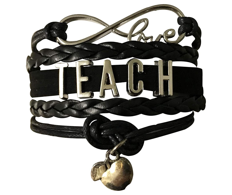 Teacher Bracelet- Black Teacher Infinity Jewelry, Teacher Gift, Show Your Teacher Appreciation