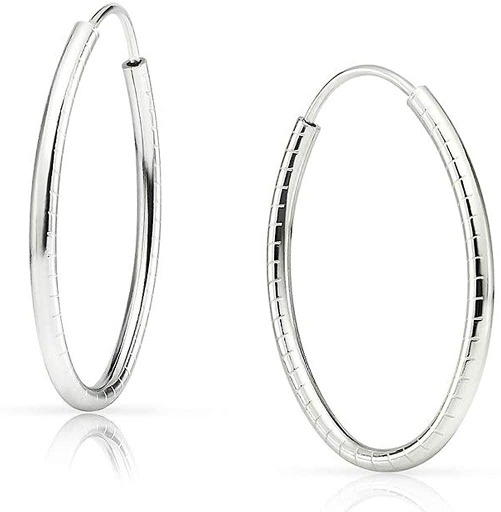 SOLIDSILVER - Sterling Silver Oval 20mm Diamond Cut Striped Endless Infinity Hoop Earrings
