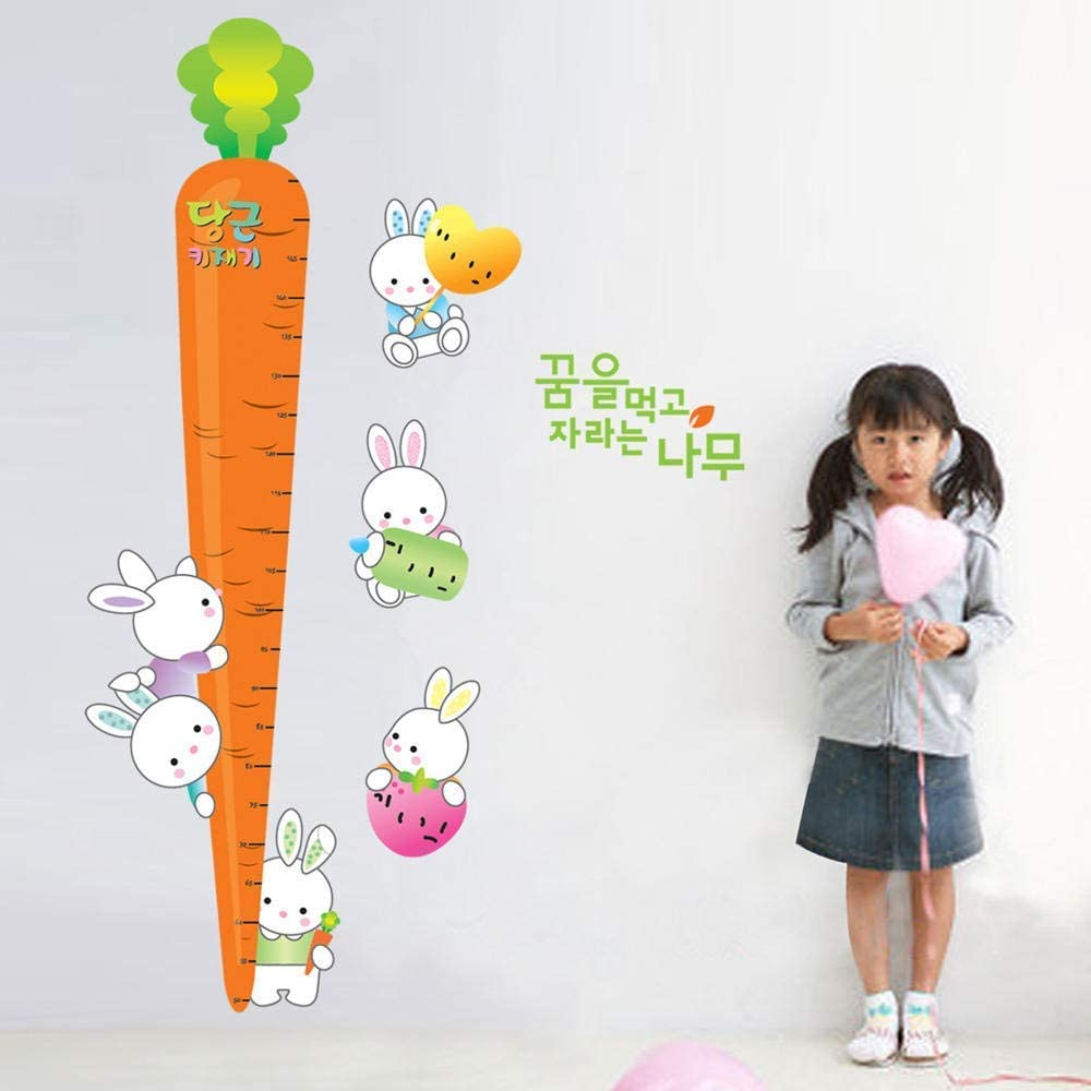 xmksd Cartoon Carrot Rabbit Height Measure Wall Stickers for Kids Room Bedroom Nursery Growth Chart Eco-Friendly Vinyl Art Decals