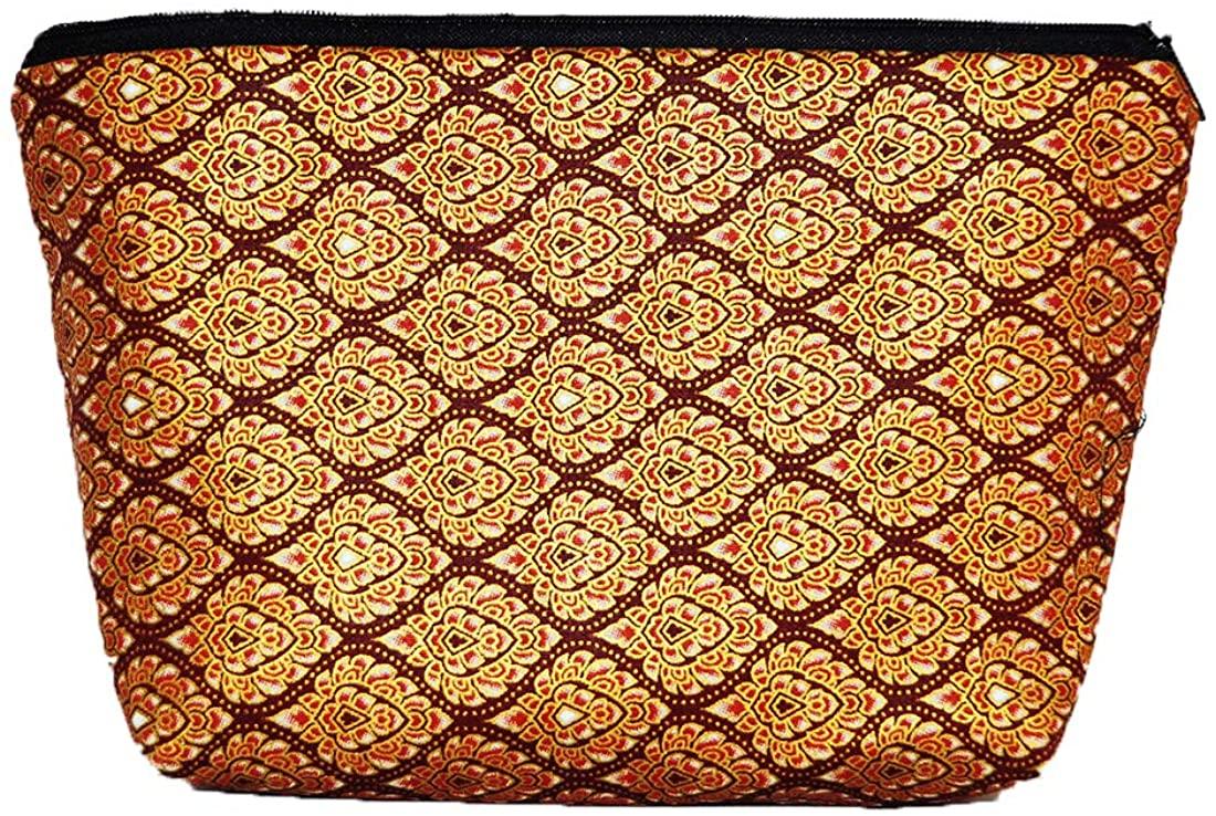 Cosmetic Makeup Handbag Bag Case Zip Handmade Thai Traditional Art 3 Size in Set