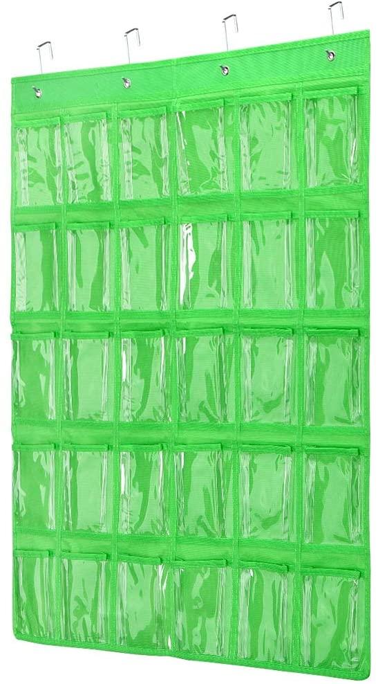 Classroom Pocket Chart, Transparent Pocket Classroom Organizer Pocket Chart for Cell Phones Holder Door Hanging Calculator Organizer with 4 Metal Hooks Classroom Pocket Chart (Green-30grid)
