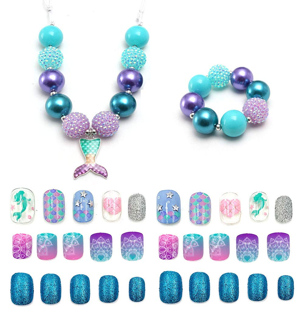 Jellyparty2018 64pcs kids Fake Nails and jewelry set Chunky Beads necklace and bracelet for girls (C)