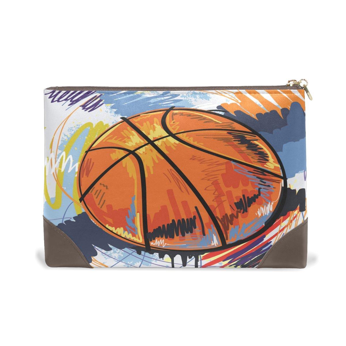 Women Makeup Bag Art Basketball Genuine Leather Zipper Cosmetics Pouch Lady Toiletry Bag