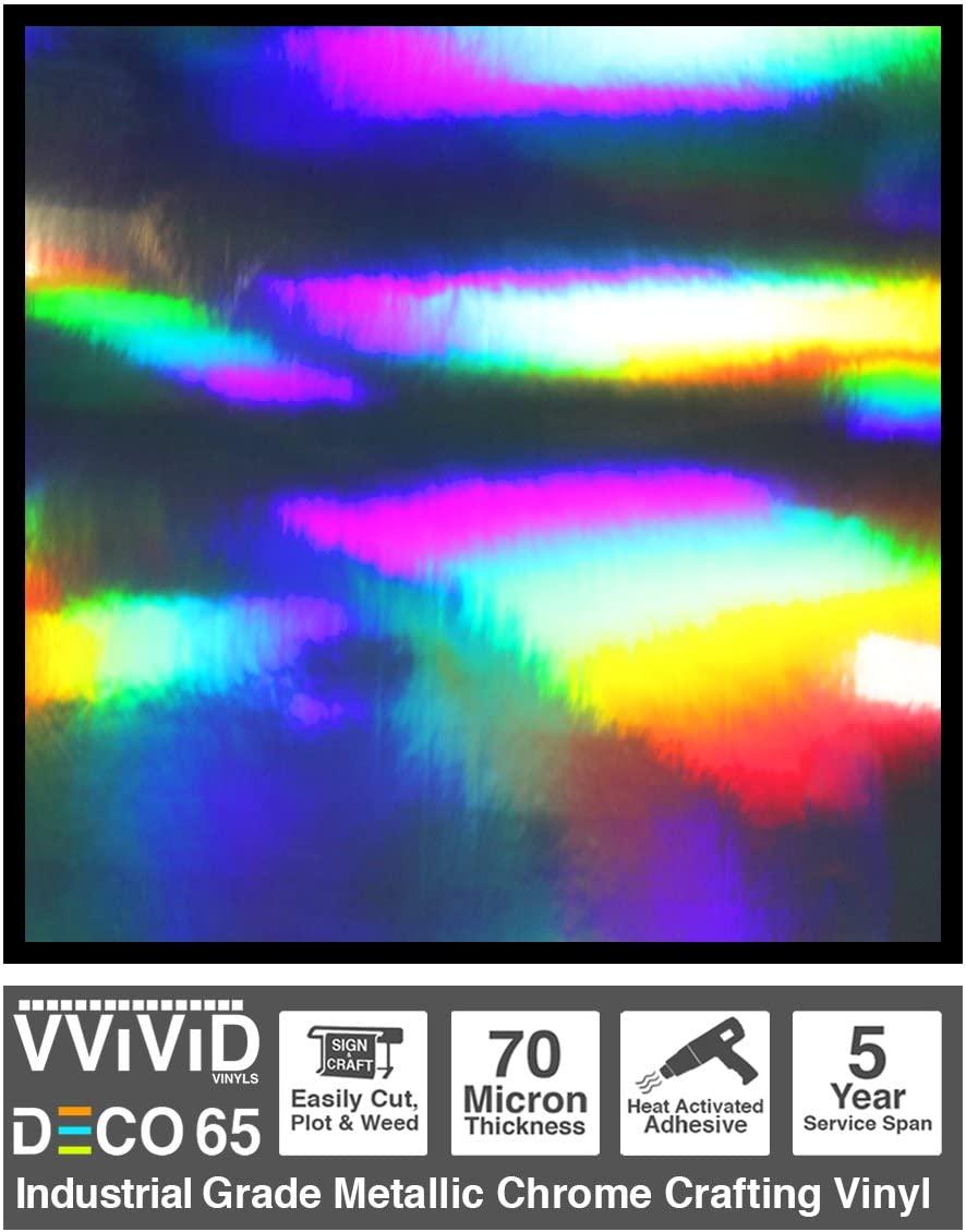 VViViD DECO65 Rainbow Lazer Metallic Chrome Adhesive Vinyl 6 Feet x 1 Foot Craft Roll for Die-Cutter and Plotting Machines