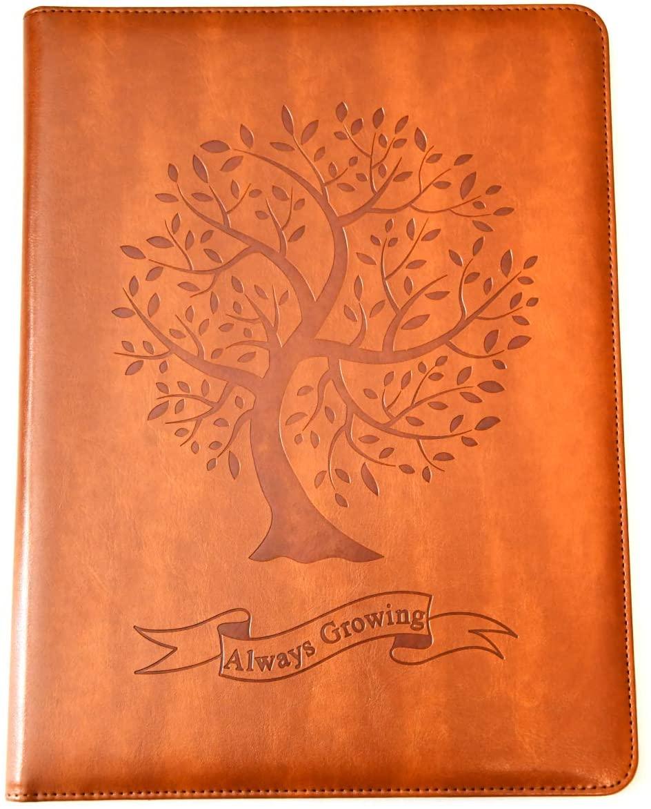 Tree Padfolio by SohoSpark, Designer Faux Leather Portfolio, 8.5x11 Letter-Size Document Organizer, Resume Holder, Business Folder with Pen Holder