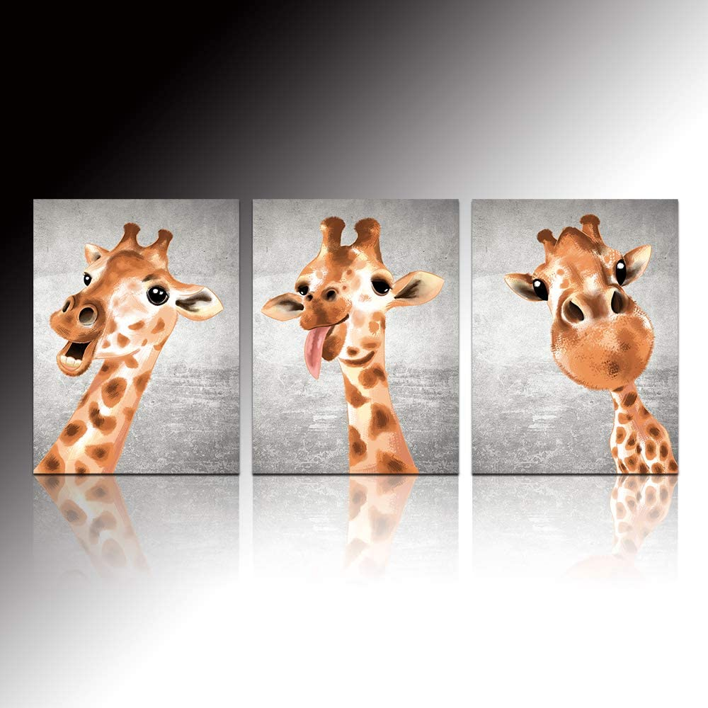 VVOVV Wall Decor Giraffe Wall Art Funny Animals Picture Poster Prints Stretched Framed Wall Pictures for Kids Room Nursery Wall Decor Gift 12x16x3 Panels