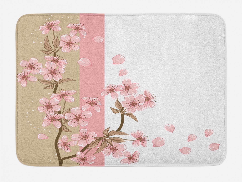 Ambesonne Japanese Bath Mat, Romantic Sakura Blooms Flowers Petals Spring Wind Eastern Nature Theme, Plush Bathroom Decor Mat with Non Slip Backing, 29.5