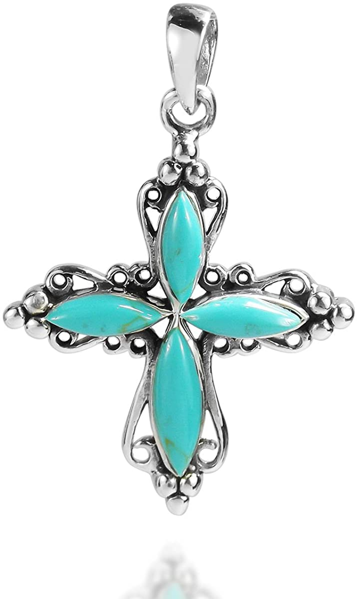 AeraVida Vintage Style Simulated Turquoise Cross Filigree .925 Sterling Silver Pendant
