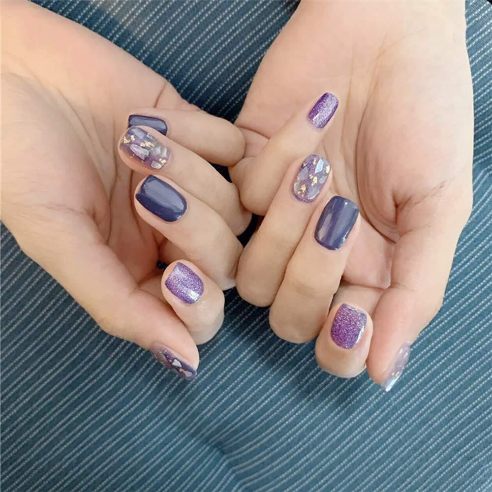 24Pcs Acrylic Fake Nail Shinning Surface Purple Blue Short Square False Nail Art Decoration Accessories Press on