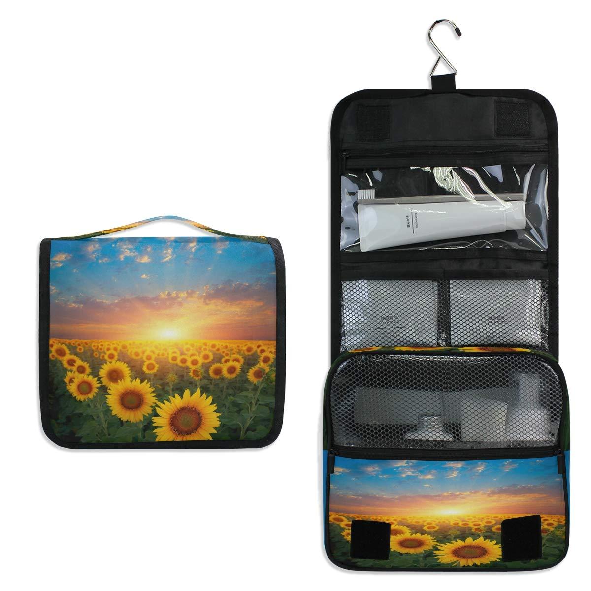 CCDMJ Hanging Toiletry Bag Sunset Sunflower Garden Floral Cosmetics Makeup Bags with Hook Portable Multifunction Travel bag Wash Bathroom Organizer for Women Girls