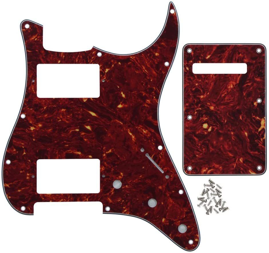 IKN 11 Hole Strat HH Pickguard Scratch Plate Back Plate w/Screws for Standard Strat Modern Style Guitar Replacement, 4Ply Red Tortoise